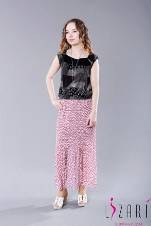 Блузка трикотаж, черно-белая с резинкой по плечам - Lizari