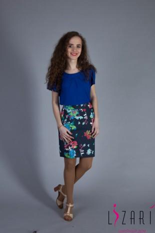 Блузка синяя с защипами - Lizari