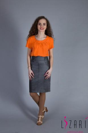 Блузка оранжевая с защипами - Lizari