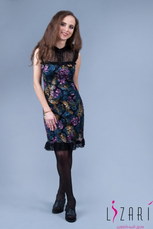 Вечернее платье цветное кружево с черной сеткой + рюшка - Lizari