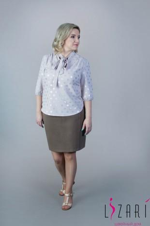 Блузка бежевая, рисунок серебряный горох с галстуком - Lizari