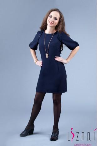 Вечернее платье синее , кружево по плечам - Lizari