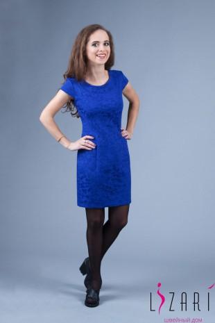 Вечернее платье синее, жаккард, приталенное - Lizari