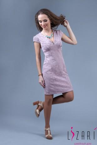 Вечернее платье бежево-розов., жаккард с защитами - Lizari