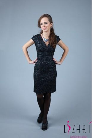 Чёрное вечернее платье с серебром + защипы - Lizari