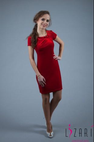 Вечернее платье бархатное с защипами и бантиком - Lizari