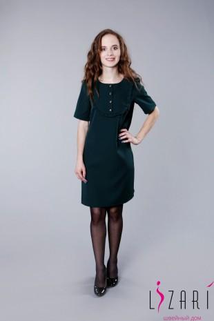 Платье однотонное кокетка с рюшей  - Lizari