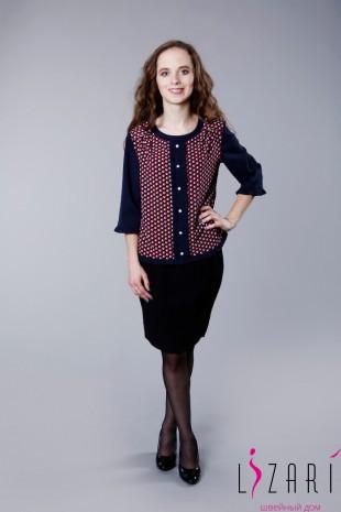 Блузка комбинированная с рюшками - Lizari