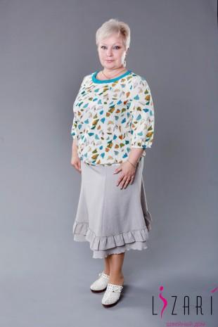 Блузка светло-бежевая с рисунком, на резинке - Lizari