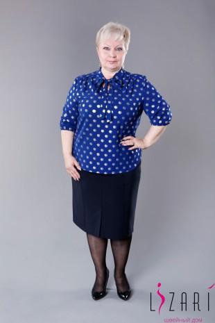 Блузка синяя, рисунок серебряный горох с галстуком - Lizari