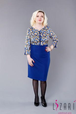 Платье цветной верх, синий низ - Lizari