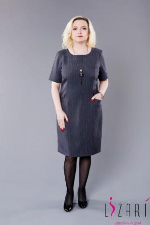 Офисное платье серое, рис полоска - Lizari