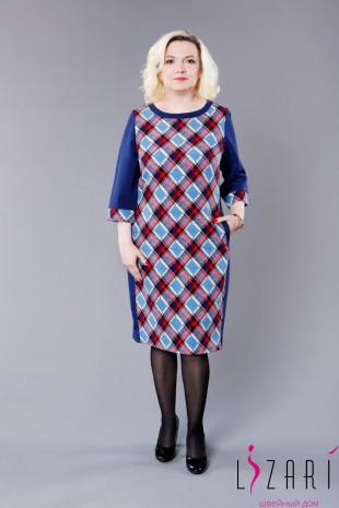 Офисное платье цв синий со вставкой спереди - Lizari