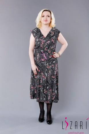 Платье, юбка клеш, рисунок цветы, с пояском - Lizari