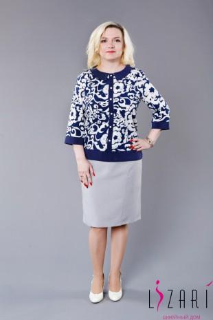 Блузка с бело-синим рис. с синей отделкой - Lizari