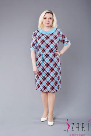 Платье рис. клетка сине-красная с голубым воротником - Lizari