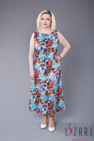Платье х/б цветное, удлинённое - Lizari
