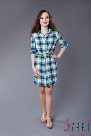 Платье-рубашка в клетку с кулисой - Lizari