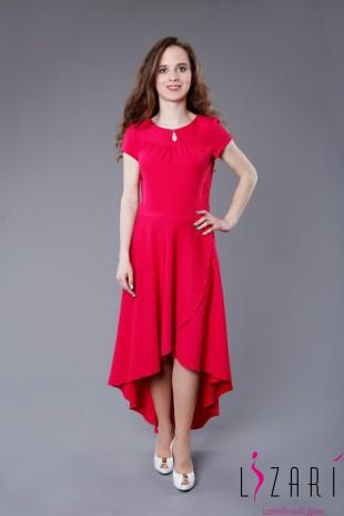 Вечернее платье из крепа, юбка со шлейфом и запахом - Lizari