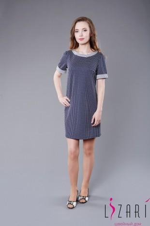 Офисное платье рис. синяя мелкая клеточка с белой отделкой - Lizari