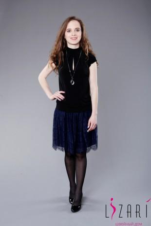 Блузка чёрная с разрезом - Lizari