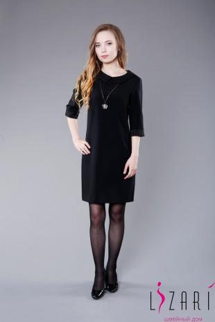 Офисное платье чёрное с жаккардовым воротничком и манжетами - Lizari