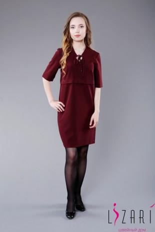 Платье бордовое с горизонтальной складкой - Lizari