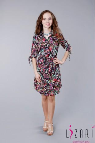 Платье-рубашка цветная П256 - Lizari