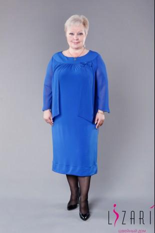 Вечернее платье синее трикотажное с шифоном - Lizari