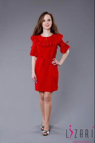 Вечернее платье красное, кокетка с оборкой по кругу - Lizari