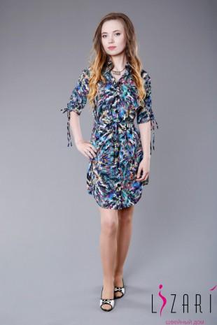 Платье-рубашка цветная, рукав с кулисой  - Lizari