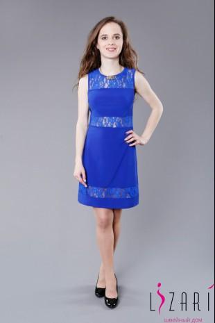 Вечернее платье трикотажное с кружевными вставками - Lizari