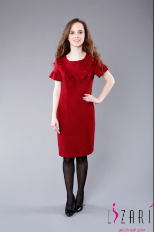 Вечернее платье бордовое, кокетка углом - Lizari