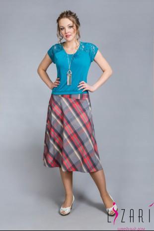 Блузка бирюзовая, сборка+кружево - Lizari
