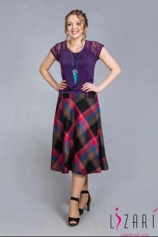 Блузка фиолетовая с кружевом - Lizari