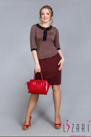 Блузка цветная с чёрной отделкой - Lizari