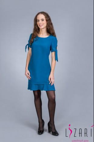 Платье цвет морской волны, волан + рукав с банто - Lizari