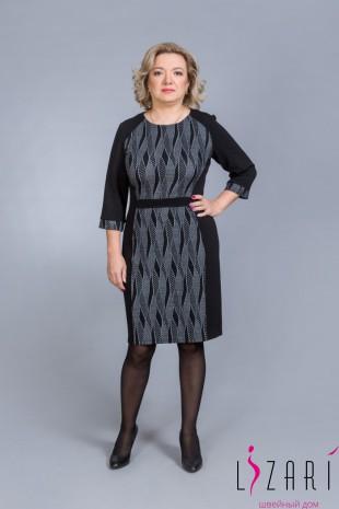 Платье серый центр, чёрные бочки - Lizari