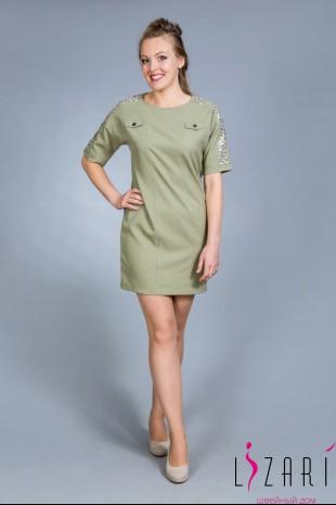 Летнее платье цв. хаки с кружевом - Lizari