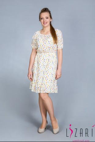 Летнее платье бежевое, рис. листочки на резинке - Lizari