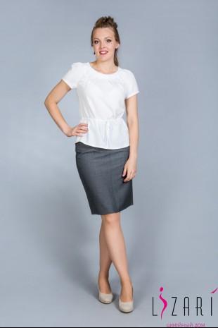 Блузка ткань креп, цв. молочный с пояском - Lizari