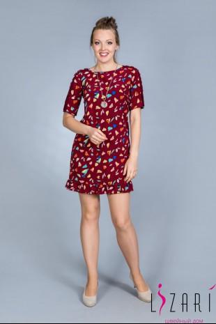 Летнее платье бордовое, рис. листики - Lizari