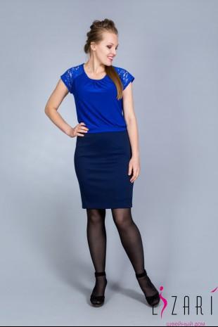 Блузка синяя, сборка + кружево - Lizari