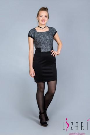 Платье комбинированное водолаз + трикотаж - Lizari
