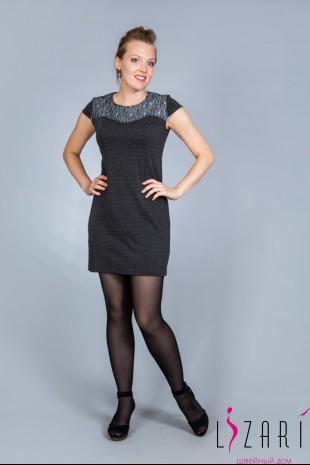 Платье серое с серым гипюром - Lizari