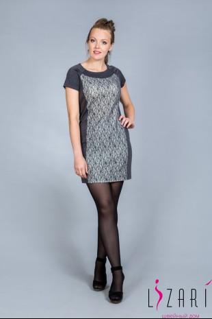Платье серое+вставка серое круж. - Lizari