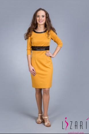 Платье жёлтое с кожаной отделкой - Lizari
