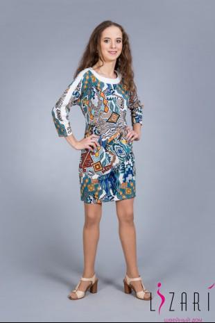 Платье рис. геометрия с белой отделкой - Lizari