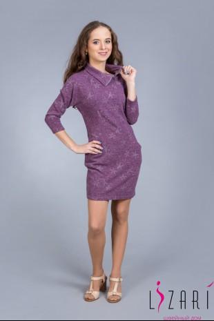 Платье сиреневое, рис. звёзды с хомутом - Lizari