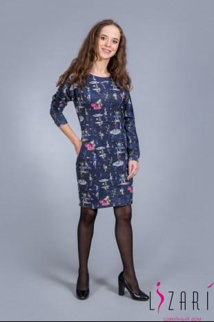 Платье синее, рис. девочки с кожаной отделкой - Lizari
